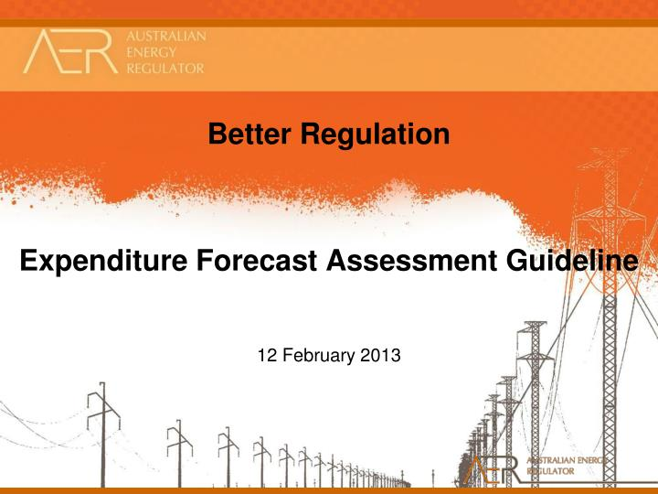 better regulation expenditure forecast assessment guideline n.