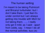the human setting