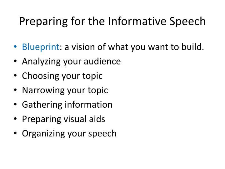 Preparing for the informative speech