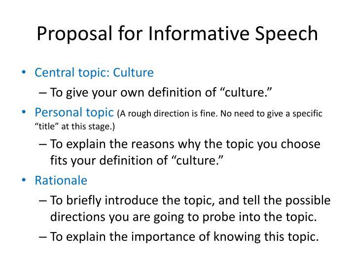 Proposal for Informative Speech