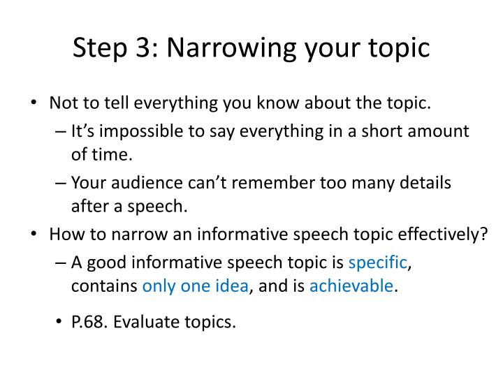 Step 3: Narrowing your topic