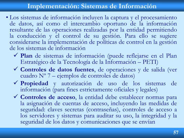 Implementación: Sistemas de Información