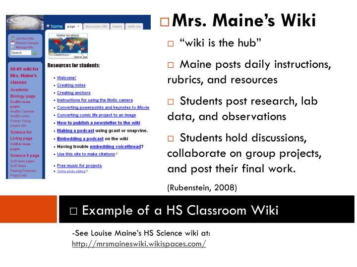 Mrs. Maine's Wiki