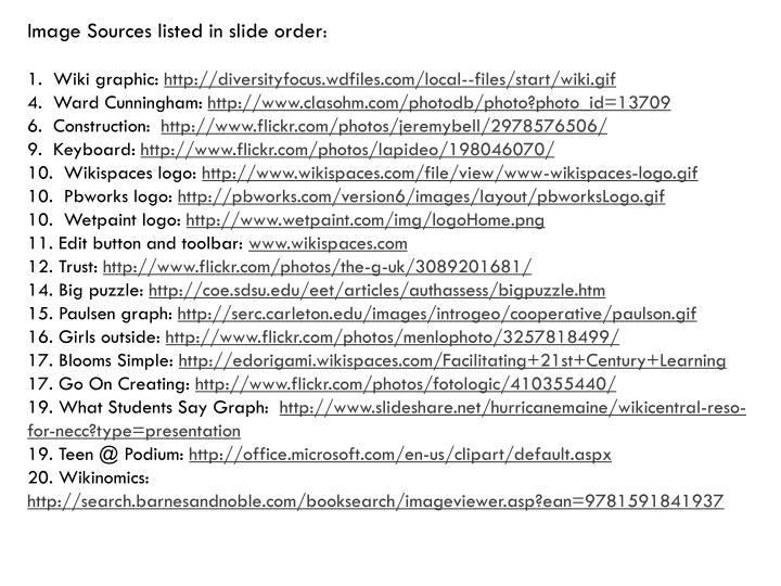 Image Sources listed in slide order