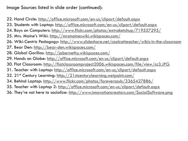 Image Sources listed in slide order (continued):