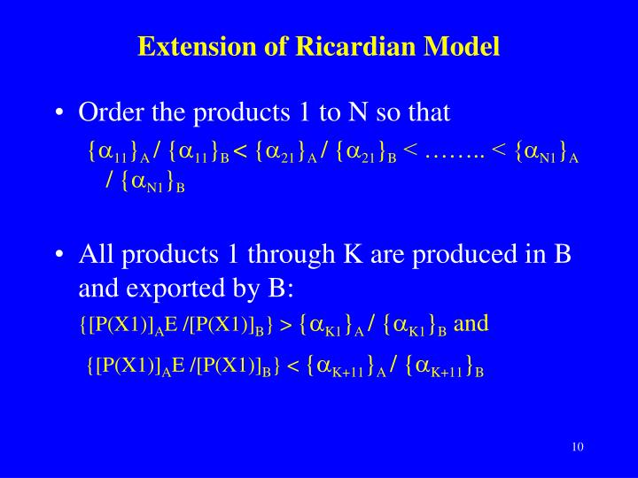 Extension of Ricardian Model