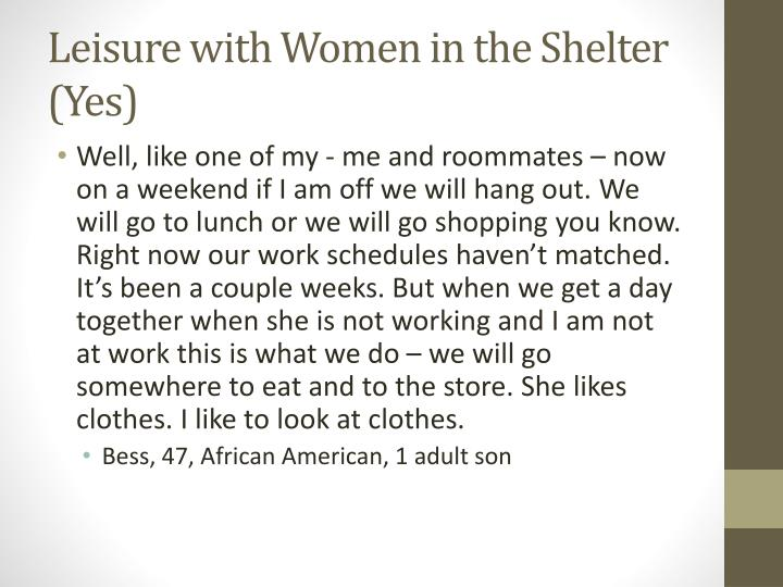 Leisure with Women in the Shelter (Yes)