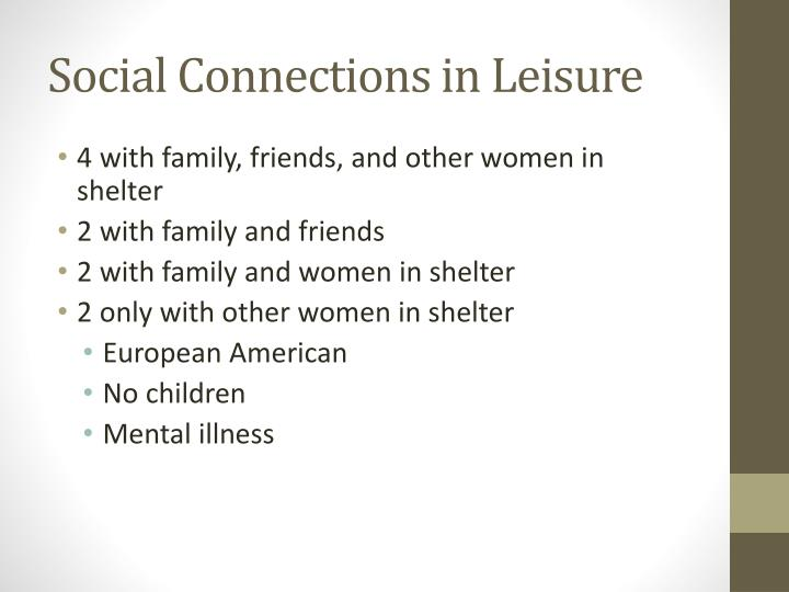 Social Connections in Leisure