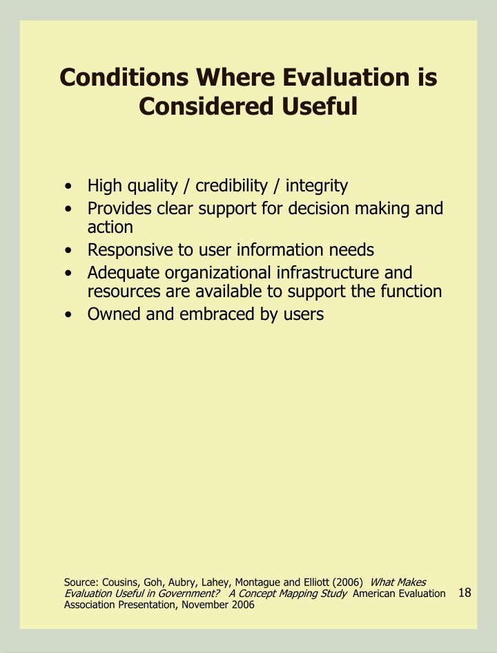 Conditions Where Evaluation is Considered Useful