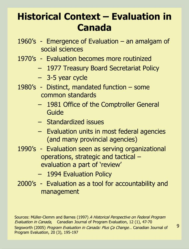 Historical Context – Evaluation in Canada