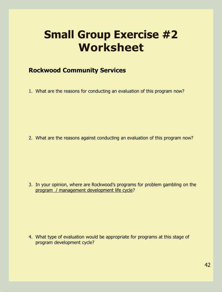 Small Group Exercise #2