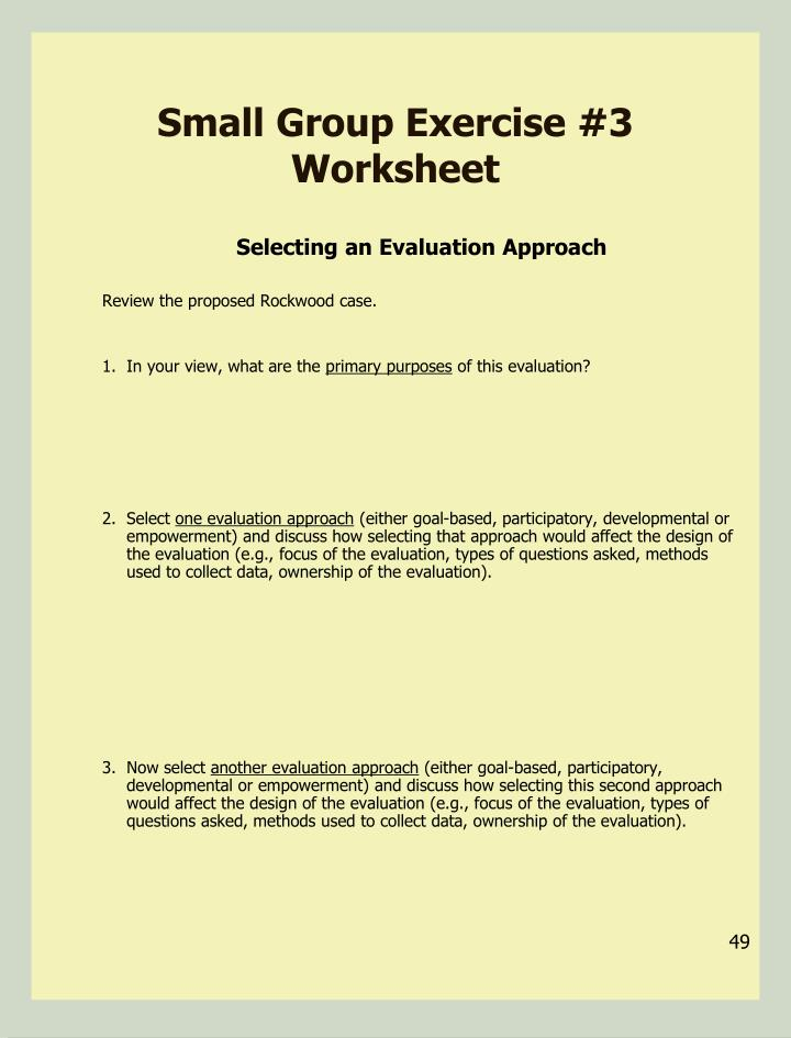 Small Group Exercise #3 Worksheet