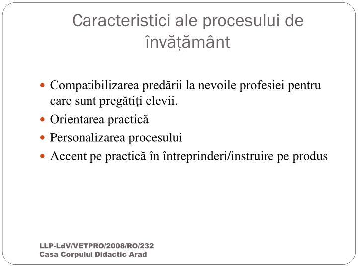Caracteristici ale procesului