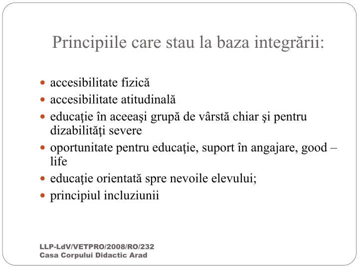 Principiile care stau la baza integrării: