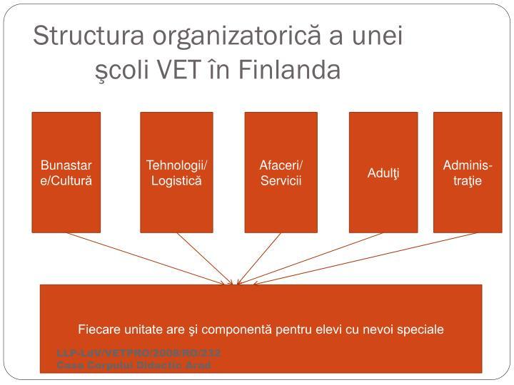 Structura organizatorică a unei şcoli VET în Finlanda