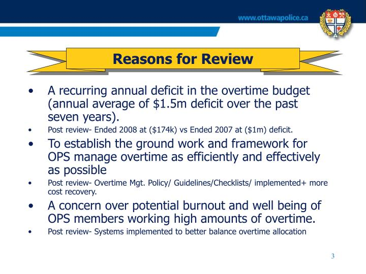 Reasons for review1