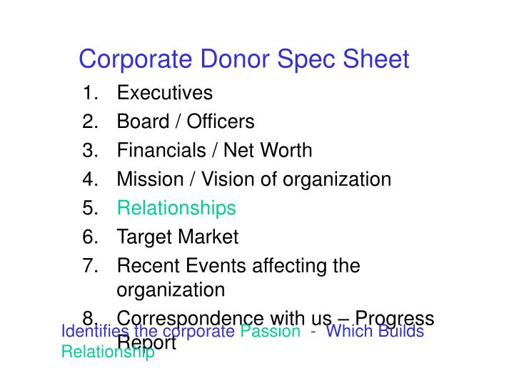 Corporate Donor Spec Sheet