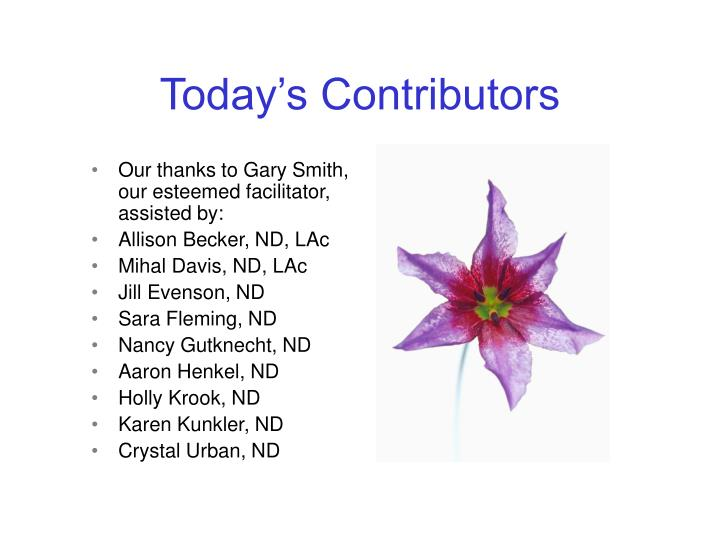 Today's Contributors
