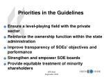 priorities in the guidelines