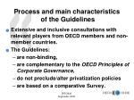 process and main characteristics of the guidelines