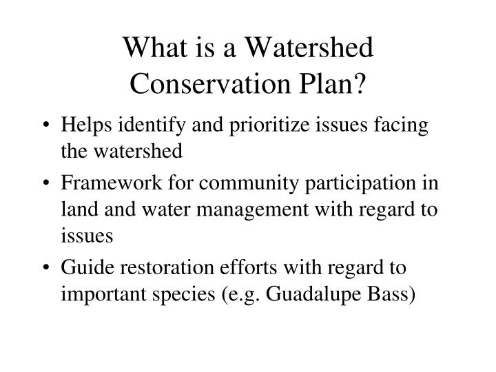 What is a Watershed Conservation Plan?