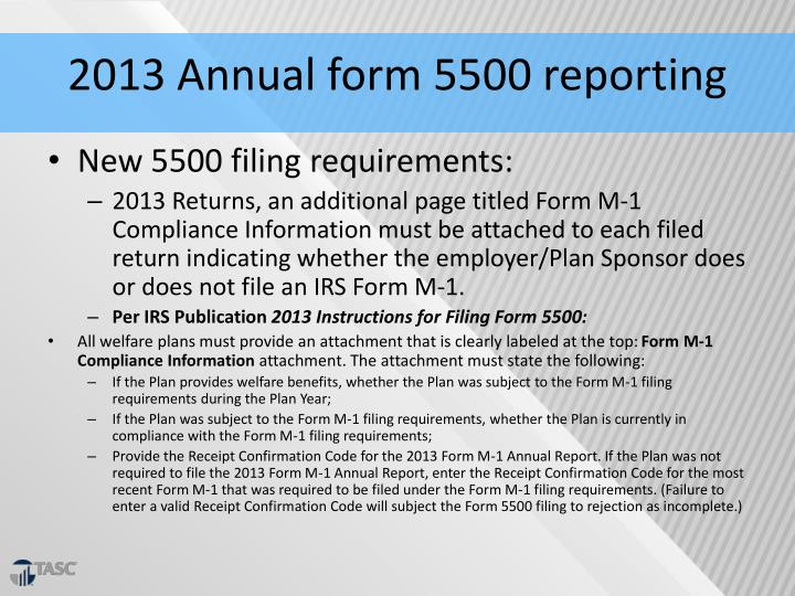 2013 Annual form 5500 reporting