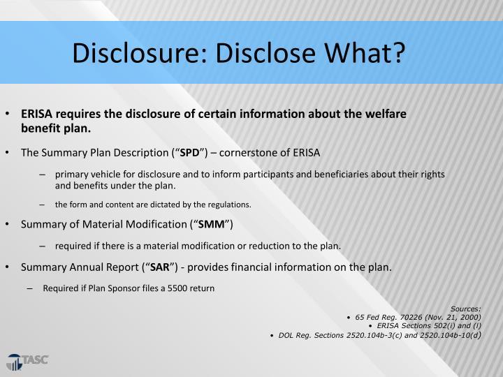 Disclosure: Disclose What?