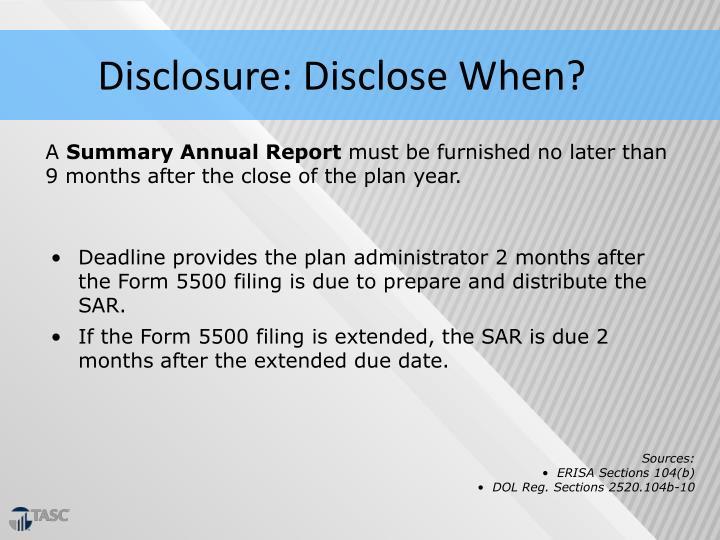Disclosure: Disclose When?