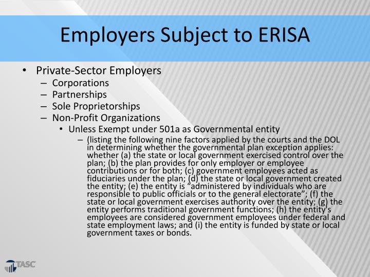 Employers Subject to ERISA