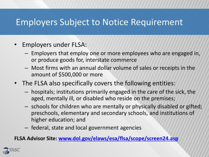 Employers Subject to Notice Requirement