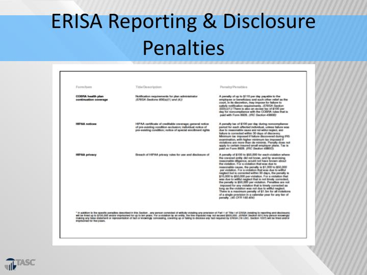 ERISA Reporting & Disclosure Penalties