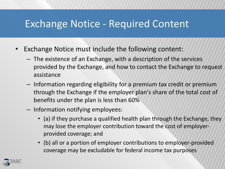 Exchange Notice - Required Content