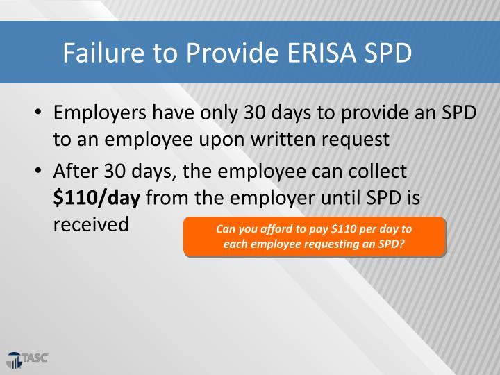 Failure to Provide ERISA SPD