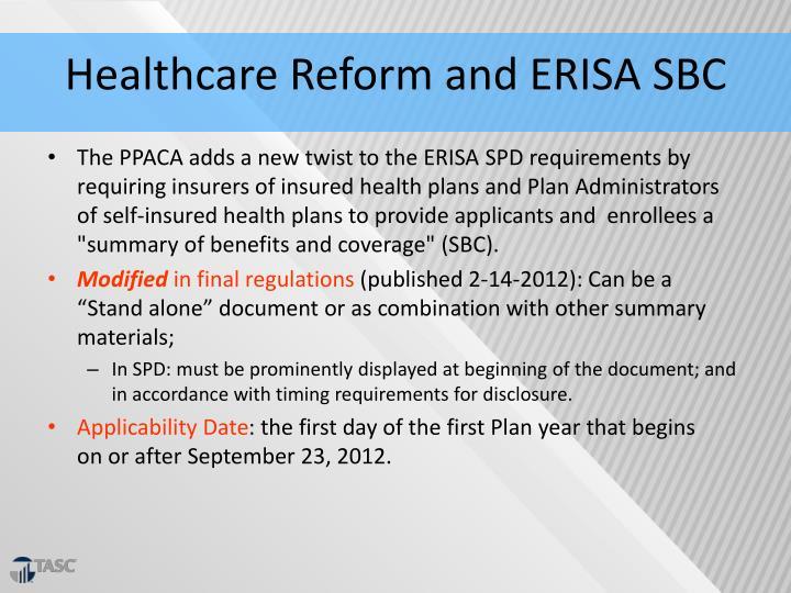 Healthcare Reform and ERISA SBC