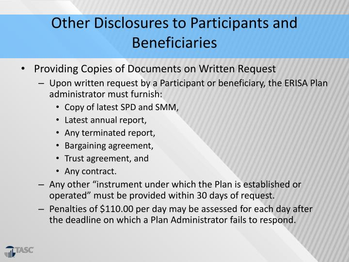 Other Disclosures to Participants and Beneficiaries
