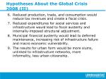 hypotheses about the global crisis 2008 ii