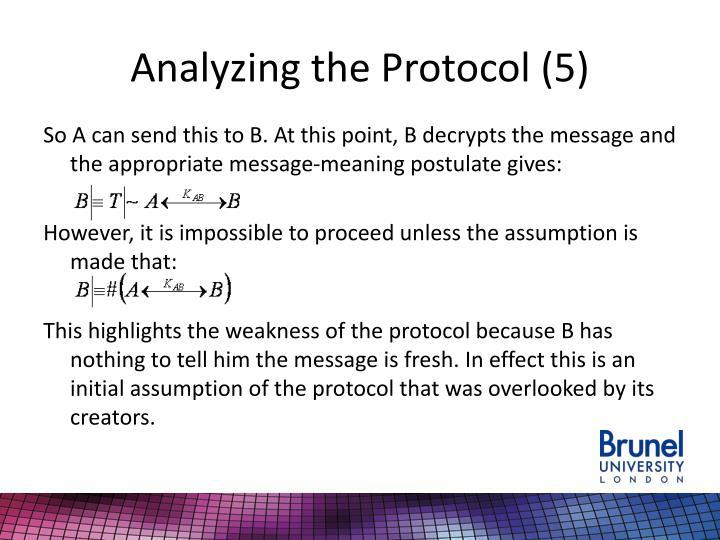 Analyzing the Protocol (5)