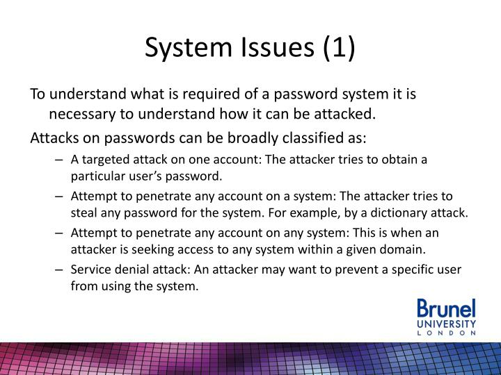 System Issues (1)