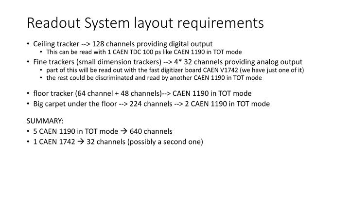 Readout System layout requirements