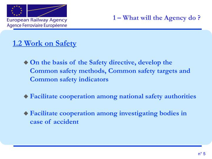 1.2 Work on Safety