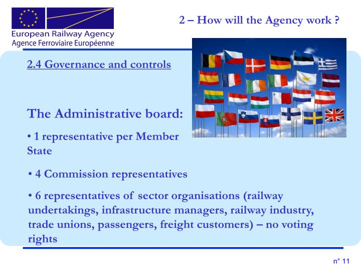 2 – How will the Agency work ?
