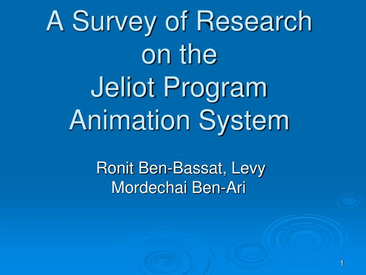 a survey of research on the jeliot program animation system n.