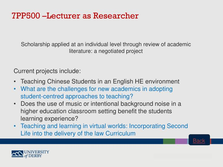 7PP500 –Lecturer as
