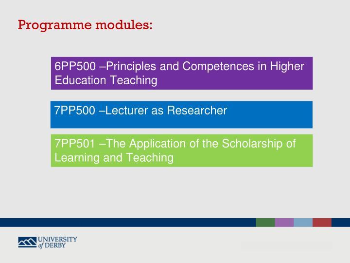 Programme modules: