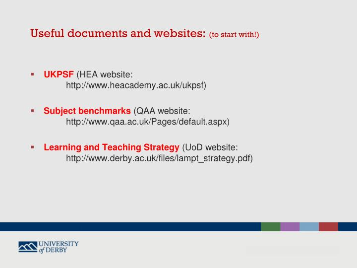 Useful documents and