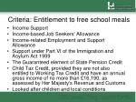 criteria entitlement to free school meals