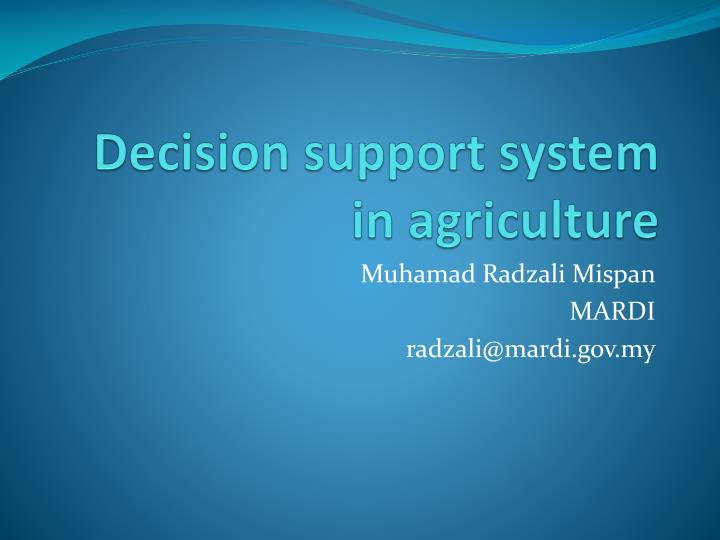decision support system in agriculture n.
