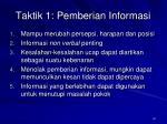 taktik 1 pemberian informasi