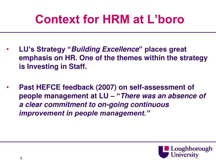 Context for HRM at L'boro