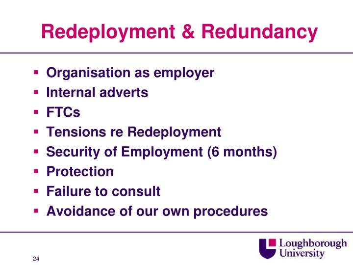 Redeployment & Redundancy
